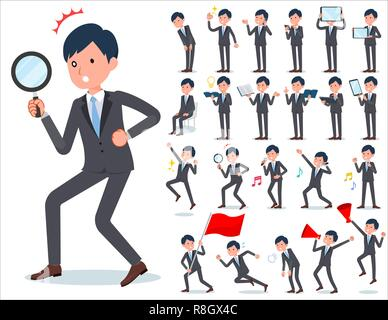 A set of businessman with digital equipment such as smartphones.There are actions that express emotions.It's vector art so it's easy to edit. - Stock Image
