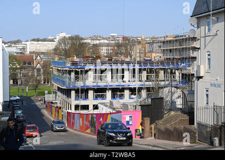 Circus Street construction site in Brighton . The former fruit and vegetable market in central Brighton is being transformed - Stock Image