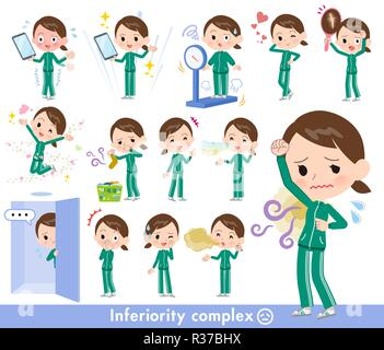 A set of women in sportswear on inferiority complex.There are actions suffering from smell and appearance.It's vector art so it's easy to edit. - Stock Image