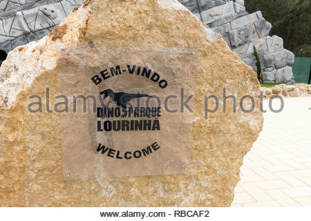 welcome sign outside Dino Parque Lourinha Portugal - Stock Image