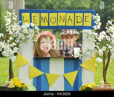 Two little kids are selling lemonade at a homemade lemonade stand on a sunny day with a sign for an entrepreneur - Stock Image