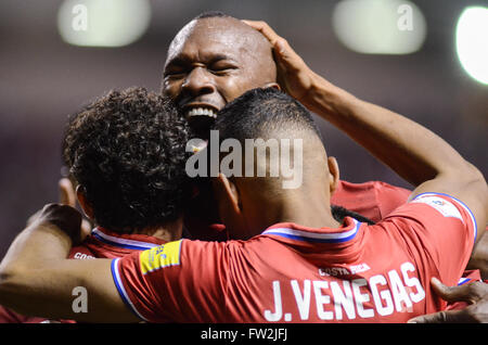 Kendall Waston and Johan Venegas celebrate after third goal. FIFA World Cup™ Qualifiers.  The game between Costa - Stock Image