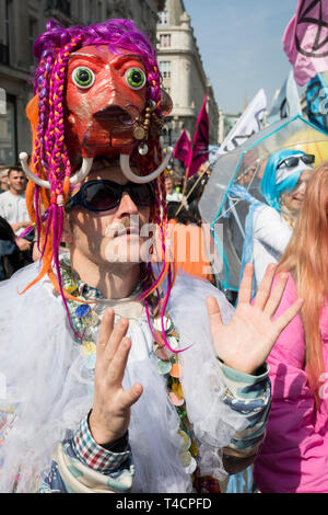 Climate Change protestors with Extinction Rebellion block Oxford Circus and simultaneously stop traffic across central London including Marble Arch, Piccadilly Circus, Waterloo Bridge and roads around Parliament Square, on 15th April 2019, in London, England. - Stock Image