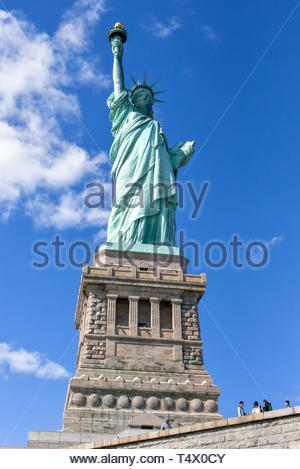 New York city, USA, Statue of Liberty, popularly known as the Green Lady. The color green is the result of the oxidation of copper which is the main m - Stock Image