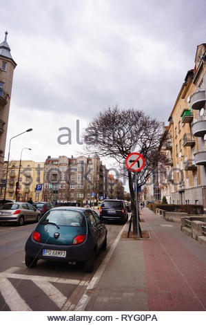 Poznan, Poland - March 8, 2019: Parked small Ford Ka car by a sidewalk on the Slowackiego street in the city center. - Stock Image