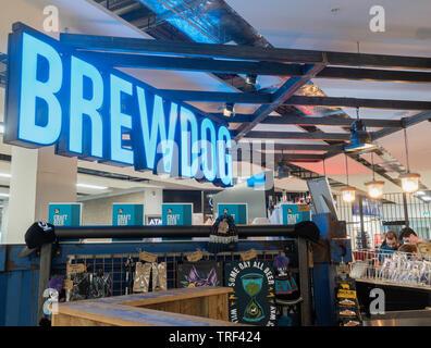 Brewdog bar in Edinburgh Airport departure lounge. Scotland. UK - Stock Image