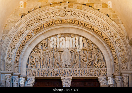 Last Judgement Tympanum by Gislebertus circa 1130 AD in west façade of Autun Cathedral France Burgundy in Romanesque - Stock Image