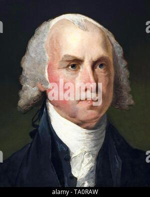James Madison, portrait painting (detail) by Gilbert Stuart, c. 1821 - Stock Image