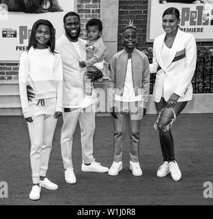 Los Angeles, CA - June 02, 2019: Eniko Parrish, Heaven Hart, Hendrix Hart, Kenzo Hart and Kevin Hart attends the Premiere Of Universal Pictures' 'The - Stock Image
