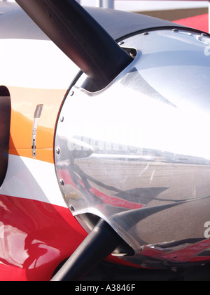Propellor propeller driven aircraft at Asian Aerospace Changi Exhibition Centre Singapore - Stock Image