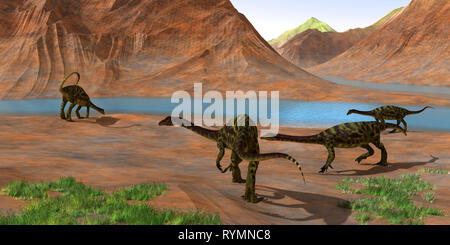 Anchisaurus - Prosauropod Anchisaurus dinosaurs gather together to keep watch for predators and get a drink of water during the Jurassic Period. - Stock Image