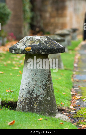 'Stone toadstools' in a row, seen in the Cotswold town of Broadway - Stock Image