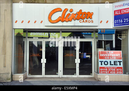 closed down Clinton Cards shop, Market Street, Leicester, England, UK - Stock Image