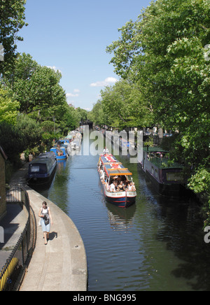 Canal Boat at Little Venice London - Stock Image