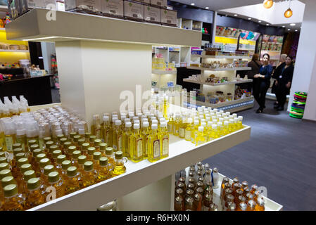 Argan oil for sale in the Duty Free shop. Marrakech airport, Marrakesh Morocco North Africa - Stock Image