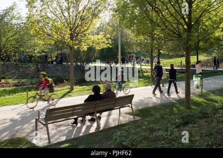 France, Paris, Parc Clichy-Batignolles-Martin Luther King, eco-district - Stock Image