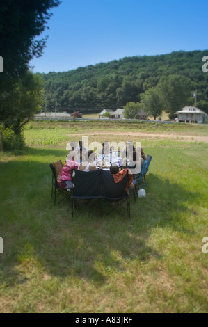Good friends enjoy an outdoor meal during the Fourth of July weekend. - Stock Image
