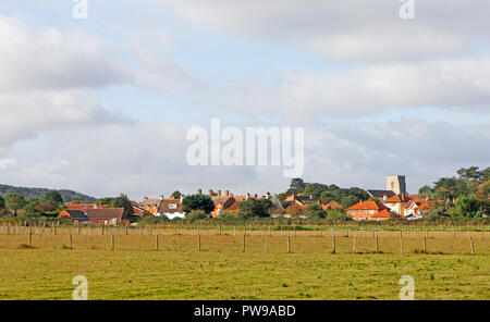 A view from the cliff top of the North Norfolk coastal village of West Runton, Norfolk, England, United Kingdom, Europe. - Stock Image