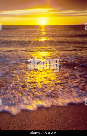 Miami Beach Florida South Beach Atlantic Shore surf at sunrise - Stock Image