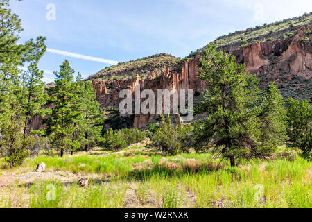 Scenery of canyon cliffs at Main Loop trail in Bandelier National Monument in New Mexico during summer in Los Alamos - Stock Image