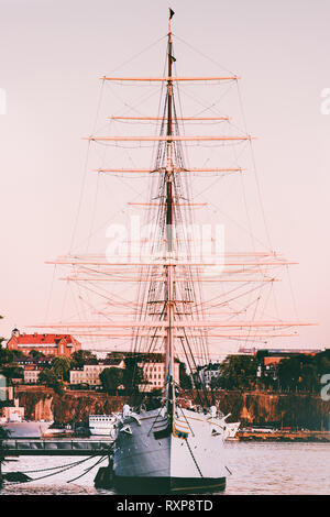 Ship vessel transportation in Stockholm scandinavian vacations in Sweden - Stock Image
