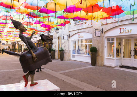 Le Village Royal is an open-air passage with an 'umbrella sky' in Paris, France. - Stock Image