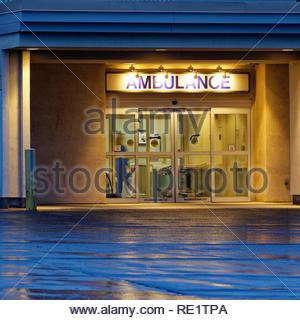 Hospital entrance at twilight, Rockport, Maine, USA - Stock Image