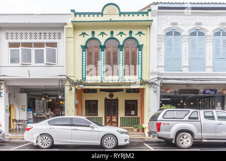 Phuket, Thailand - 11th April 2017: Sino Portuguese architecture on Thalang road. Many buildings have been restored - Stock Image