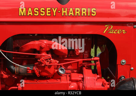 Tractor- 1953 Massey Harris model Pacer logo and engine. Canfield Fair. Mahoning County Fair. Canfield, Youngstown, Ohio, USA. - Stock Image