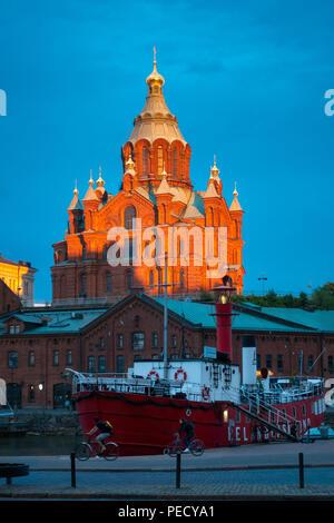 Uspenski Cathedral Helsinki at sunset in summer, June 11. - Stock Image