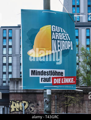Berlin. Election poster, European Elections 23-26 May 2019, Die Linke Political Party poster calls for minimum wage - Stock Image