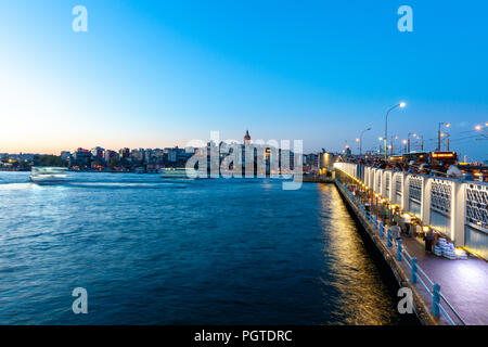 ISTANBUL, TURKEY - AUGUST 14: Istanbul view across the Golden Horn with the Galata Tower in the background on August 14, 2018 in Istanbul, Turkey. - Stock Image