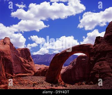 Rainbow Bridge world's largest natural bridge 290 feet tall 275 feet wide Navajo Sandstone Natural Bridge National - Stock Image