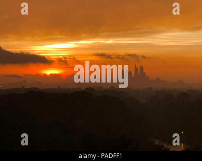 Sunset over the City of Philadelphia - Stock Image