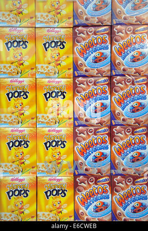 shop window display of breakfast cereal packets, England, UK - Stock Image