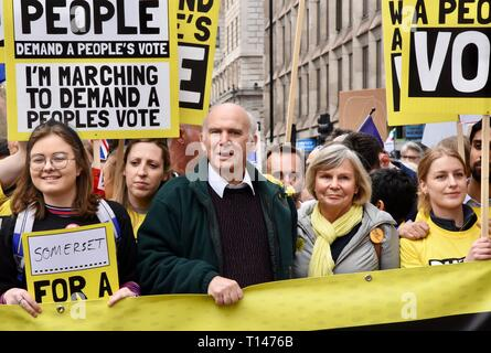 London, UK. 23rd March, 2019. Sir Vince Cable, Rachel Smith, People's Vote March, Piccadilly, London.UK Credit: michael melia/Alamy Live News - Stock Image