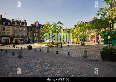 Place A Briand, the main square, in Fougères, Brittany, France - Stock Image