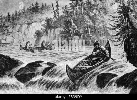North American Indian skin Canoe shooting river rapids circa 1885 - Stock Image