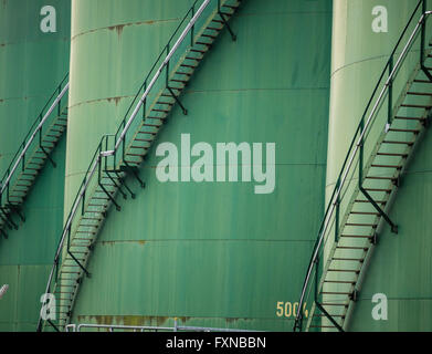 Tanks, Hamburg harbor, Germany - Stock Image