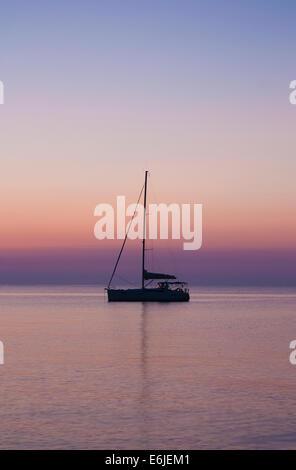 Yacht drifting on the Mediterranean Sea - Stock Image