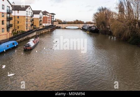 Looking eastwards towards Twin Bridge over the River Nene in central Peterborough, Cambridgeshire, England, UK - Stock Image