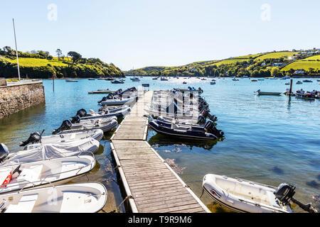 Salcombe Harbour, Salcome, Devon, UK, England, Salcombe Harbour boats, jetty, boat, boats, Salcombe Harbor, harbour, harbours, devon, Salcombe town - Stock Image