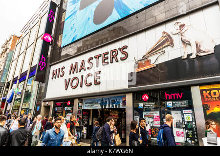 HMV, HMV sign, HMV Oxford Street London, HMV music store, HMV music shop, His Masters voice, HMV store Oxford Street London UK, HMV shop entrance sign - Stock Image