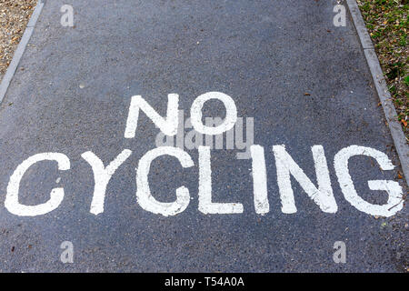 No cycling in white paint on road surface - Stock Image