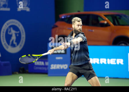 Pune, India. 3rd January 2019. Benoit Paire of France in action in the last quarter final match of singles competition at Tata Open Maharashtra ATP Tennis tournament in Pune, India. Credit: Karunesh Johri/Alamy Live News - Stock Image