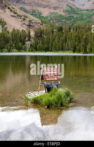 Boat and float tube launch at Virginia Lakes resort of the Toiyobe national forest In The Sierra Nevada mountains - Stock Image