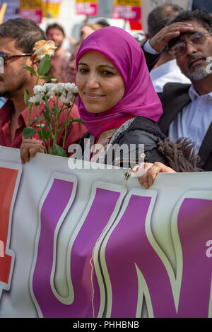 Worcester, United Kingdom. 1 September 2018. The English Defence League (EDL) held a national demonstration in the West Midlands town of Worcester, approximately 200 people attended. A counter-protest was held a short distance away with approximately 500 people.  PICTURED: Salma Yaqoob with counter-protesters in Worcester town centre . Credit: Peter Manning/Alamy Live News - Stock Image