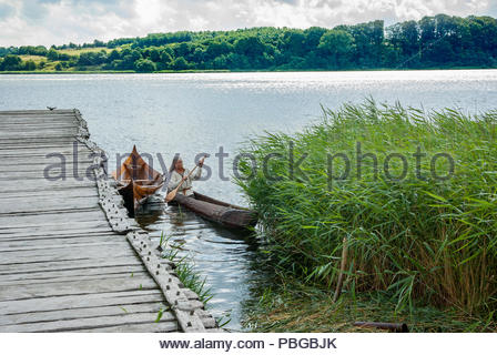 A man wearing traditional Viking costume paddles a dugout canoe into the Haddebyer Noor, the bay at the west end of the Schlei inlet. - Stock Image