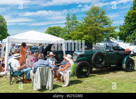 Henley-on-Thames, UK. 5th July, 2019. Henley Royal Regatta, founded in 1839, and one of the highlights of the summer sporting and social calendar in the UK,  where spectators enjoy watching 600 teams over five days battle it out on the River Thames and here take a splendid picnic luncheon in Lion Meadow car park.  Credit   Gary Blake/Alamy Live News - Stock Image