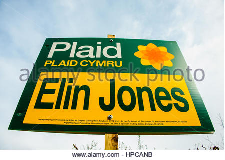 Elin Jones, Plaid Cymru Election signs or banners near Aberystwyth, Mid Wales,UK. - Stock Image